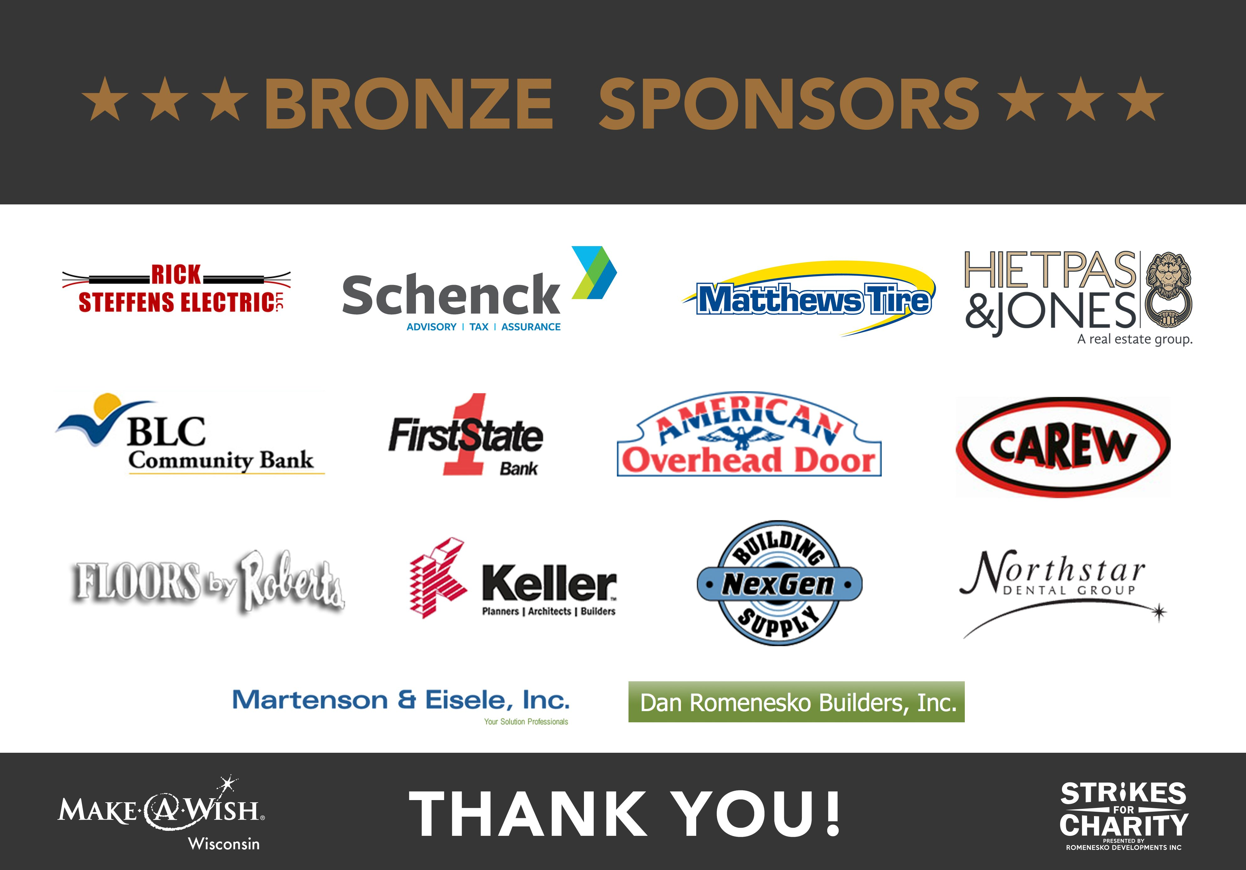 Strikes For Charity 2017 Bronze Sponsors